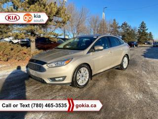 Used 2017 Ford Focus TITANIUM; SUNROOF, WINTER TIRES, HEATED SEATS/WHEEL, CAR STARTER, LEATHER, SONY, BACKUP CAMERA, BUTTON START, BLUETOOTH for sale in Edmonton, AB