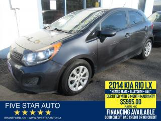 Used 2014 Kia Rio LX - Certified w/ 6 Month Warranty for sale in Brantford, ON
