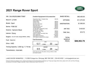 New 2021 Land Rover Range Rover Sport SE for sale in Winnipeg, MB