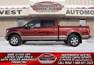 Used 2015 Ford F-150 LARIAT CREW 5.0L 4X4, HARD LOAD, 1 OWNER MB TRUCK for sale in Headingley, MB