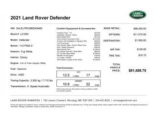 New 2021 Land Rover Defender S for sale in Winnipeg, MB