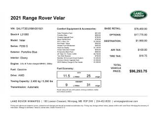 New 2021 Land Rover Range Rover Velar R-Dynamic S for sale in Winnipeg, MB