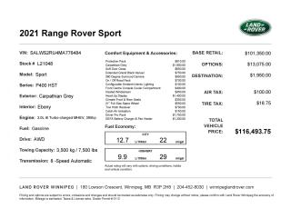 New 2021 Land Rover Range Rover Sport HST for sale in Winnipeg, MB
