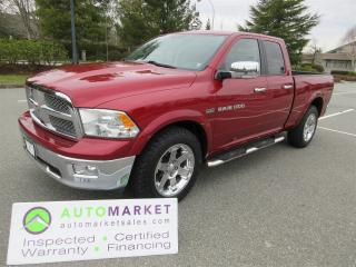 Used 2011 RAM 1500 LARAMIE, QUAD, 4X4, INSPECTED, WARRANTY, FINANCING & FREE BCAA MEMBERSHIP for sale in Surrey, BC