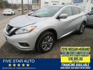 Used 2016 Nissan Murano SV AWD *Clean Carfax* Certified + 6 Month Warranty for sale in Brantford, ON