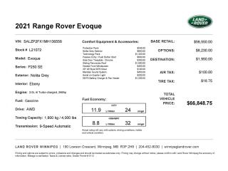 New 2021 Land Rover Evoque SE for sale in Winnipeg, MB