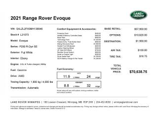 New 2021 Land Rover Evoque R-Dynamic SE for sale in Winnipeg, MB