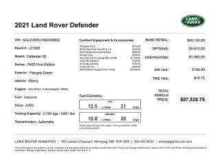 New 2021 Land Rover Defender First Edition for sale in Winnipeg, MB