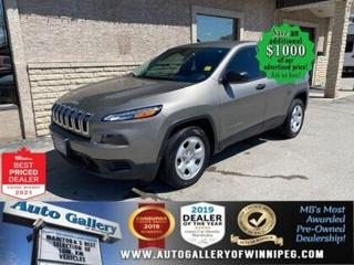 Used 2017 Jeep Cherokee Sport* 9 Speed/ Air Conditioning/LOW KILOMETRES for sale in Winnipeg, MB