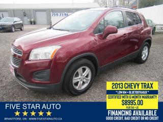 Used 2013 Chevrolet Trax LT - Certified w/ 6 Month Warranty for sale in Brantford, ON