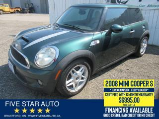 Used 2008 MINI Cooper S TURBOCHARGED - Certified w/ 6 Month Warranty for sale in Brantford, ON