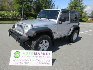 Used 2010 Jeep Wrangler Sport 4WD AUTO AC V6 INSPECTED FREE WARRANTY & BCAA MEMBERSHIP! for sale in Surrey, BC