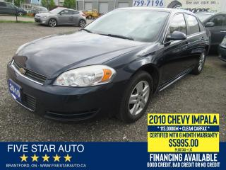Used 2010 Chevrolet Impala LS *Clean Carfax* Certified w/ 6 Month Warranty for sale in Brantford, ON