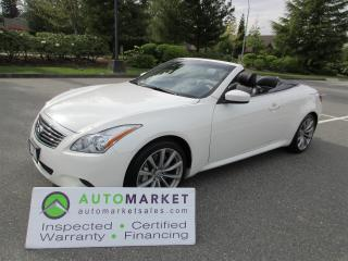 Used 2009 Infiniti G37 G37-S, 6speed MANUAL, CABRIOLET, INSPECTED, FINANCING, FREE WARRANTY & BCAA MEMBERSHIP for sale in Surrey, BC