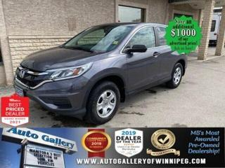 Used 2015 Honda CR-V LX* AWD/Bluetooth/Heated Seats/REMOTE STARTER for sale in Winnipeg, MB
