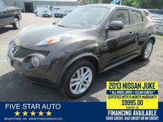 Used 2013 Nissan Juke SV AWD *Clean Carfax* Certified + 6 Month Warranty for sale in Brantford, ON