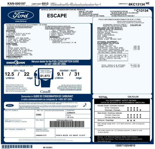 2008 Ford Escape XLT, 4X4, Local