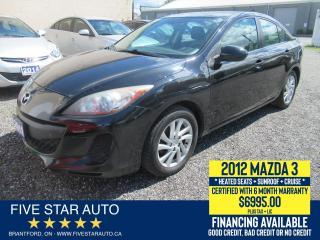 Used 2012 Mazda MAZDA3 SKYACTIVE - Certified w/ 6 Month Warranty for sale in Brantford, ON