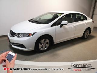 Used 2013 Honda Civic LX|Warranty|Htd Seats|Low KM|Local|56MPG|Btooth for sale in Brandon, MB
