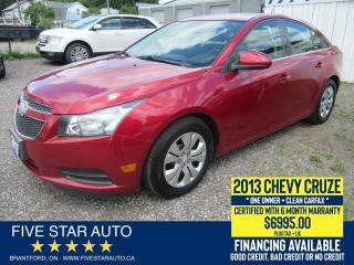Used 2013 Chevrolet Cruze LT Turbo *Clean Carfax* Certified + 6 Month Wrnty for sale in Brantford, ON