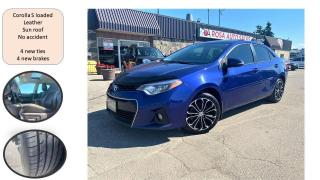 Used 2014 Toyota Corolla AUTO S LEATHER SUNROOF NO ACCIDENT NEW BRAKES+ TIR for sale in Oakville, ON