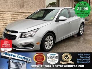 Used 2016 Chevrolet Cruze LT* Bluetooth/Reverse Camera/REMOTE STARTER for sale in Winnipeg, MB