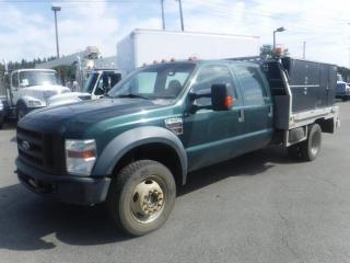 Used 2008 Ford F-550 Service Truck Flat Deck 10 Foot Crew Cab 4WD Dually Diesel With 350 Gallon Water Tank for sale in Burnaby, BC