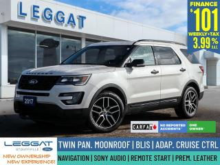 Used 2017 Ford Explorer Sport | $101/WK + HST | NO ACCIDENT | SONY AUDIO | LEATHER | MOONROOF for sale in Stouffville, ON