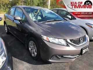 Used 2013 Honda Civic Sedan LX  - Trade-in - Non-smoker - $141 B/W for sale in Timmins, ON