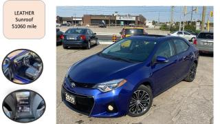 Used 2015 Toyota Corolla AUTO S LEATHER SUNROOF LOW KM ONLY 51060 MILE SAFE for sale in Oakville, ON