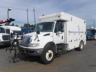 Used 2011 International 4400 Durastar 13 Foot Workshop Cargo Cube Van With Shelving and Air Brakes Diesel for sale in Burnaby, BC