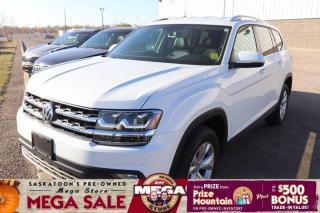 Used 2019 Volkswagen Atlas Comfortline - AWD, Heated Leather + Steering Wheel, 3 Row Seating for sale in Saskatoon, SK