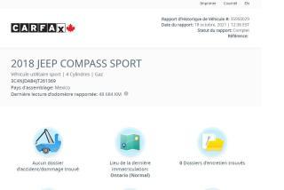 Used 2018 Jeep Compass Sport for sale in Saint-Jean-sur-Richelieu, QC